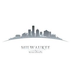 Milwaukee Wisconsin city skyline silhouette whitek background
