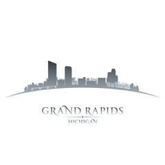 Grand Rapids Michigan city skyline silhouette white background