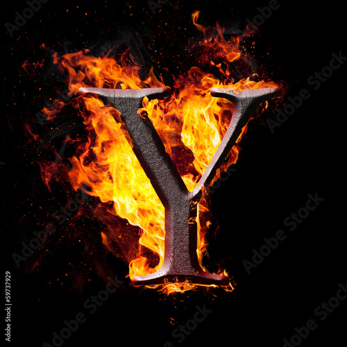 High res iron letters illustration in fire on black background