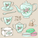 Set of isolated tea service icons