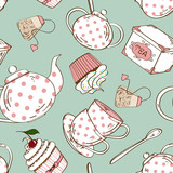 Seamless pattern of tea set and cupcakes