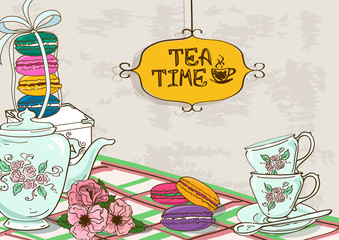 Illustration with still life of tea set and French macaroons