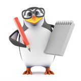 Academic penguin takes notes