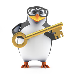 Academic penguin holds a golden key
