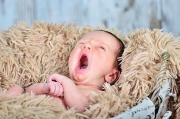 gähnendes Baby im Korb