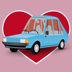 Valentines Day card with a cartoon car