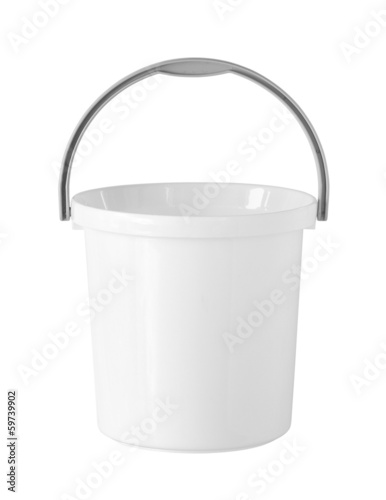 Plastic bucket (with clipping path) isolated on white background