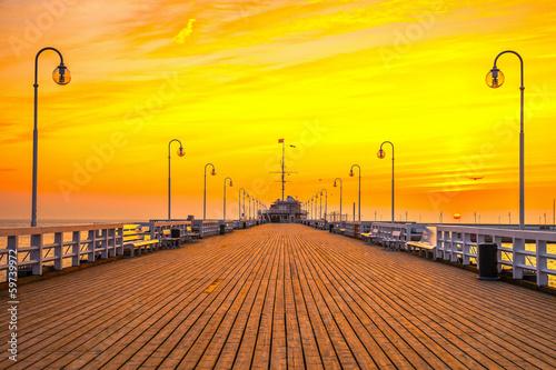 Fototapety, obrazy : Sunrise at the pier in Sopot, Poland.