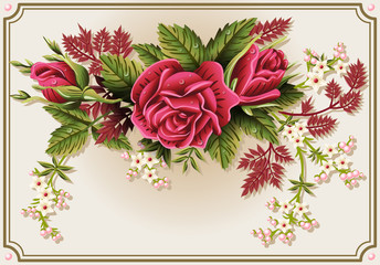 Roses Ornament on Vintage Frame