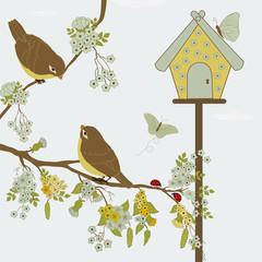 Birds on branch and butterflies in garden