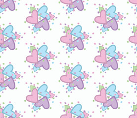 Seamless pattern with nice hearts