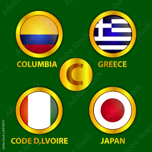 Fifa World Cup Brazil Circle Gold  Flags Group C Vector