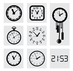 vector black clocks icons