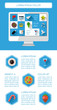 Ui, infographics and web elements including flat design