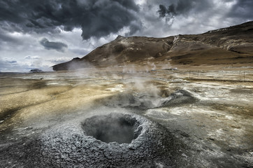Steaming Mud Volcano in Iceland