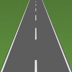 Strada dritta sfondo verde