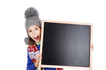Blackboard and little girl