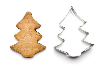Christmas tree shape biscuit and tin form for baking