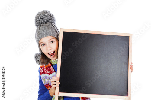 Blackboard and little girl