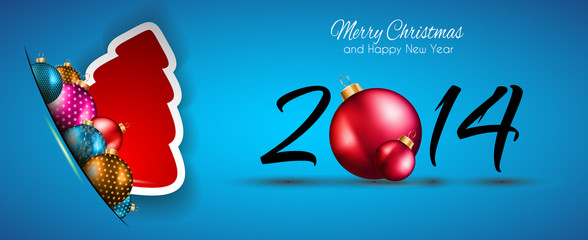 2014 Christmas and New Year Colorful Background
