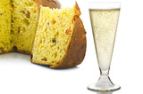 Panettone the italian Christmas fruit cake with Champagne