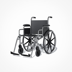 empty wheelchair isolated on white background