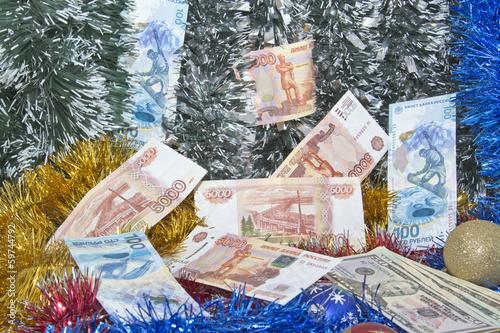 Christmas tinsel and banknotes