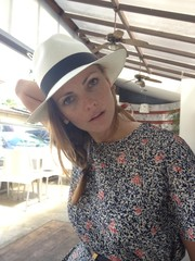 woman with panama hat
