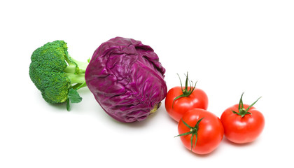 cabbage and tomatoes on white background