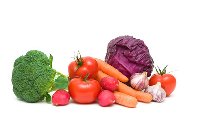 Vegetables on a white background close up - horizontal photo