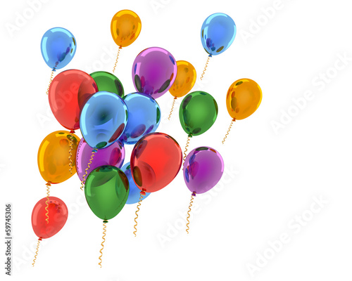 Varicolored balloons on white background