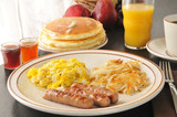 Sausage, egg and pancake breakfast