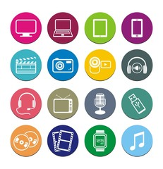 multi-media round icon sets