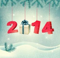 Happy new year 2014! New year design template Vector illustratio