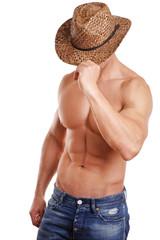 Mann mit Cowboyhut und nackten Oberkörper