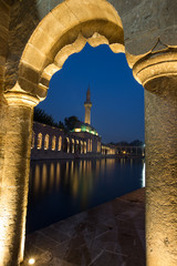 fish lake and Halil-ur Rahman Mosque at blue hours