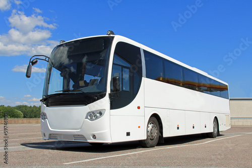 canvas print picture White Bus in Summer
