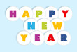 Happy New Year round buttons background