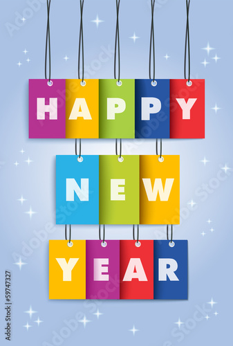 Happy New Year 2014 colors text hanging