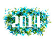 Happy New Year 2014 abstract triangle background