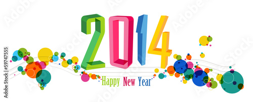 Happy New Year 2014 banner vector illustration