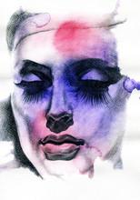 Piękna kobieto. ręcznie malowane ilustracji mody