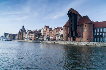 Gdansk Old Town over Motlawa river, Poland