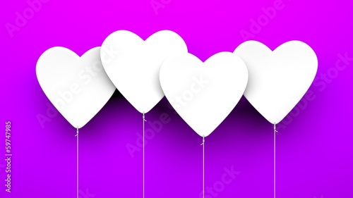 Heart Balloons on blue background