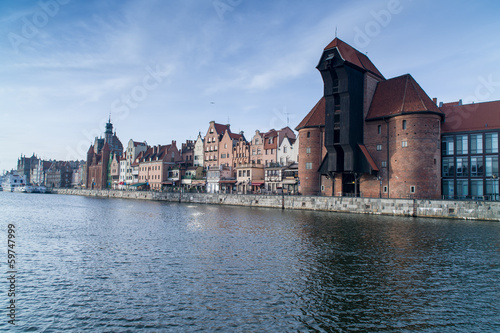Gdansk Old Town over Motlawa river, Poland