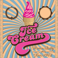 Vintage background with ice cream and inscriptions