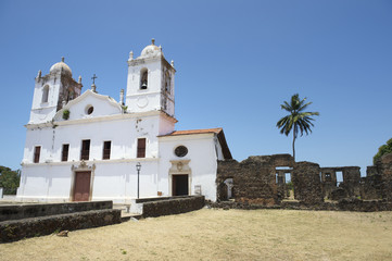 White Colonial Church and Ruins Nordeste Brasil