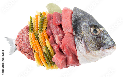 Fish shaped meat and pasta isolated on white background