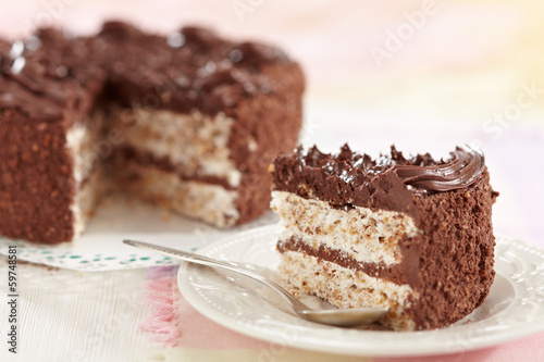 eggs and chocolate cake