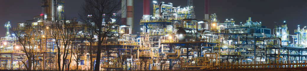 Panoramaof  oil rafinery by night, Poland